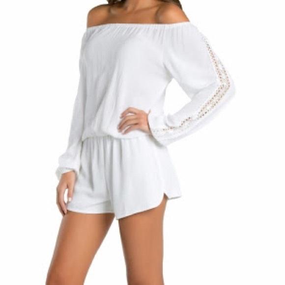 49aaabc21f7f Elan Pants - Elan White Crochet Off The Shoulder Romper Large